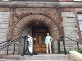 Muskegon library with sandstone entry